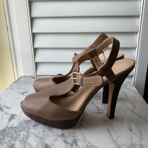 Talbots Taupe Sandal Heels
